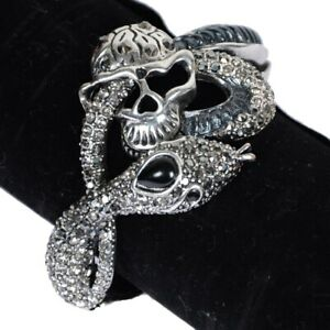 Damen-Silber-Metall-Schlange-Armband-Mode-Skelett-Totenschaedel-Pirate