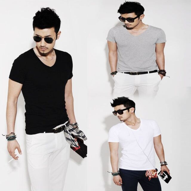 No.1 Sell Fashion Men Slim Fit Cotton V-Neck Short Sleeve Casual T-Shirt Tops