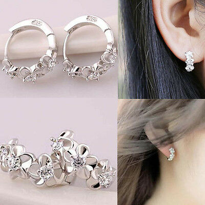 Hot Fashion Women Lady Flower Crystal Rhinestone Earrings Hoop Jewelry Ear Stud