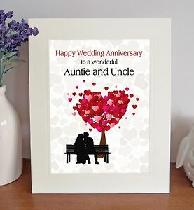 Auntie Uncle Wedding Anniversary Gift Sentimental Free Standing Picture Mount Ebay