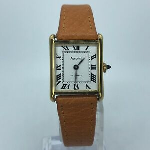 ACCURIST-VINTAGE-WIND-UP-WOMENS-WATCH-GOLD-TONE-17-JEWELS-BROWN-LEATHER-22mm