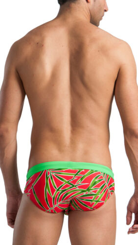 Geronimo Mens Swimwear Boxer Brief Trunks Swimming Wear Blue Red Brown Yellow