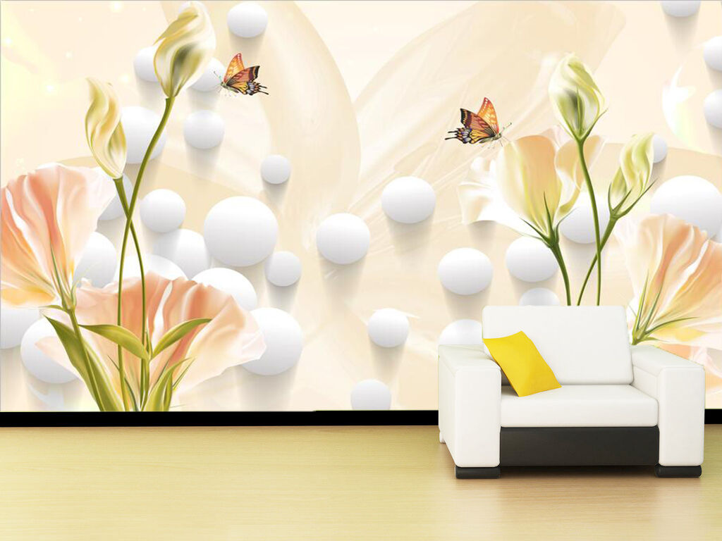 3D Schmetterling, Blume 234 Fototapeten Wandbild Fototapete BildTapete Familie