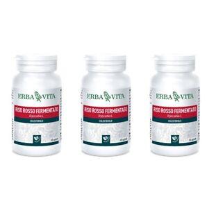 RISO-ROSSO-FERMENTATO-Erba-Vita-60-Capsule-3-CONFEZIONI-Controllo-colesterolo