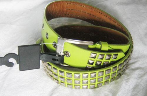 80s rocker PU retro Lime Green Punk Studded Belts Silver studs