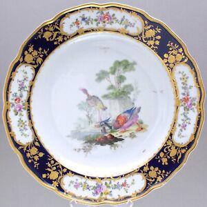 Tournai-Den-Haag-um-1780-Praechtiger-Teller-mit-Voegeln-Kobalt-Prunkteller-plate