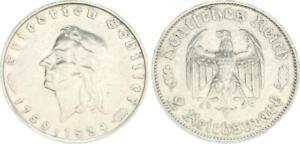 Third Reich 2 Mark Friedrich Schiller 1934 F Vf-Xf (43849)