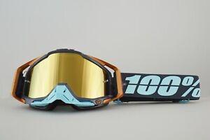 100-Racecraft-Motocross-Gafas-Ergono-Azul-Con-Lentes-espejadas-verdaderas-de-oro