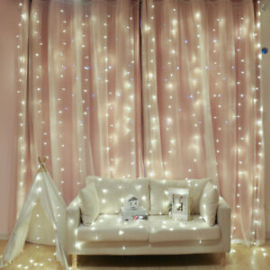 Details about 3mx3m LED Curtain String Fairy Lights Backdrop Lamp Party  Girls Room Decorations