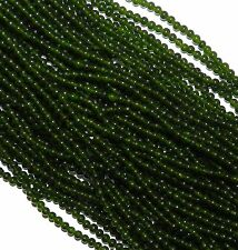 "GR890c Dark Green Malay Jade 4mm Round Quart Gemstone Beads 15"""