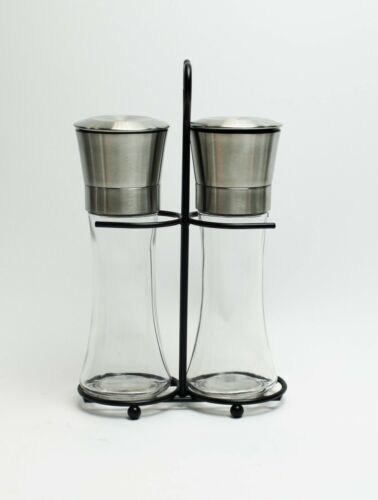 Set of 2 Salt And Pepper Grinder Set Stainless Steel Glass with Stand.