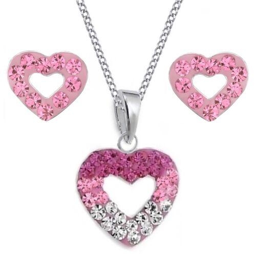 Rosa-Pink Kristall Herz OHRSTECKER ANHÄNGER KETTE 925 Silber Damen Set Ohrringe