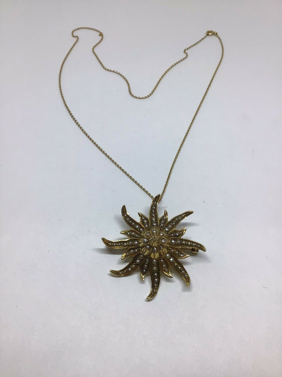 Enchanting Antique Victorian Pearl, 14 K Y G Star… - image 9