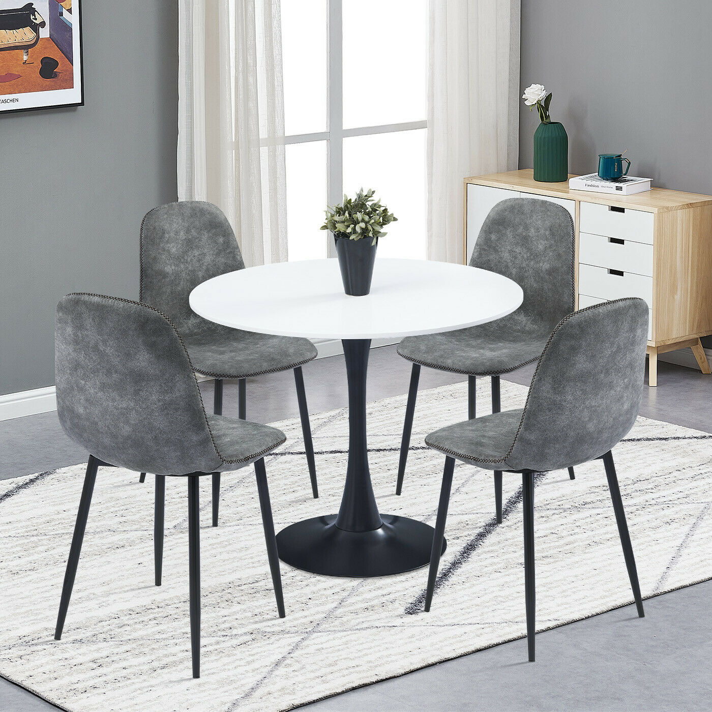 Image of: Retro Small Dining Table And 4 Chairs Faux Suede Distressed Fabric Kitchen Sets Ebay