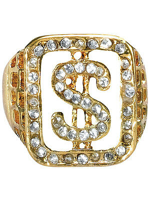 1970s Mesn Pimp Dollar Sign Rapper Ring Fancy Dress Acessory Gold Diamonte New