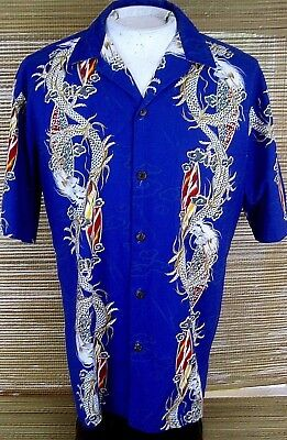 Mens Hawaiian ALOHA shirt L pit to pit 24 HILO HATTIE cotton Dragon  Surfer luau