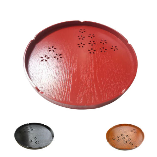 Red 30cm Serving Tray Natural Wooden Plate Bread Coffee Tea Dish Platter