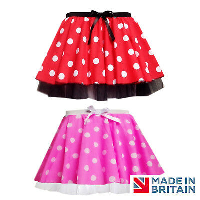 "Minnie Mouse Style Tutu Skirt - Costume, Fancy Dress - 12"" length EAR Option SET"