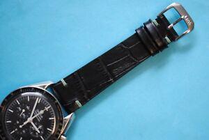 Kroko-Vintage-Stil-Uhrband-20-22mm-schwarz-green-stitch