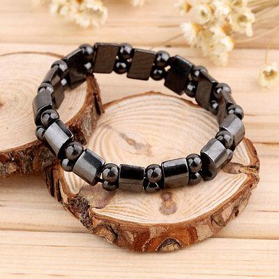Fashion Black Magnetic Hematite Healing Mens Womens Loose Beads Bracelet F5