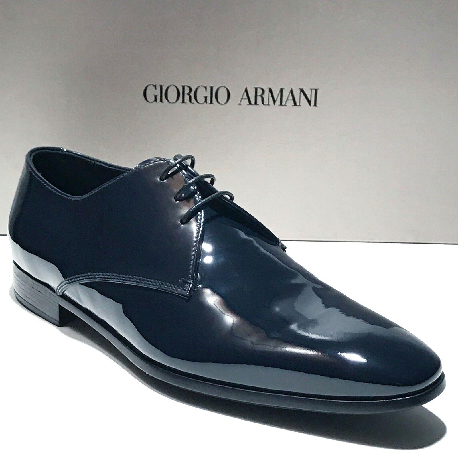 centro commerciale di moda Giorgio Armani Armani Armani Navy blu Patent Leather Tuxedo Dress Oxford 8.5 41.5 Uomo scarpe  articoli promozionali