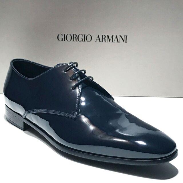 ed146bc6ad44 Giorgio Armani Navy Blue Patent Leather Tuxedo Dress Oxford 8.5 41.5 ...