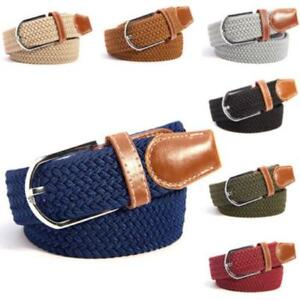 Men-039-s-Stretch-Braided-Elastic-Woven-Canvas-Buckle-Belt-Waistband-Waist-Straps-LC