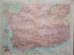Details about 1940 MAP ~ UNION OF SOUTH AFRICA WEST ~ CAPE OF GOOD HOPE  CAPE TOWN