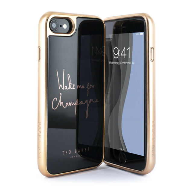 new style c96d3 ed84e Ted Baker Protective HD Glass Black Case for iPhone 8 / 7 Bublie Champagne