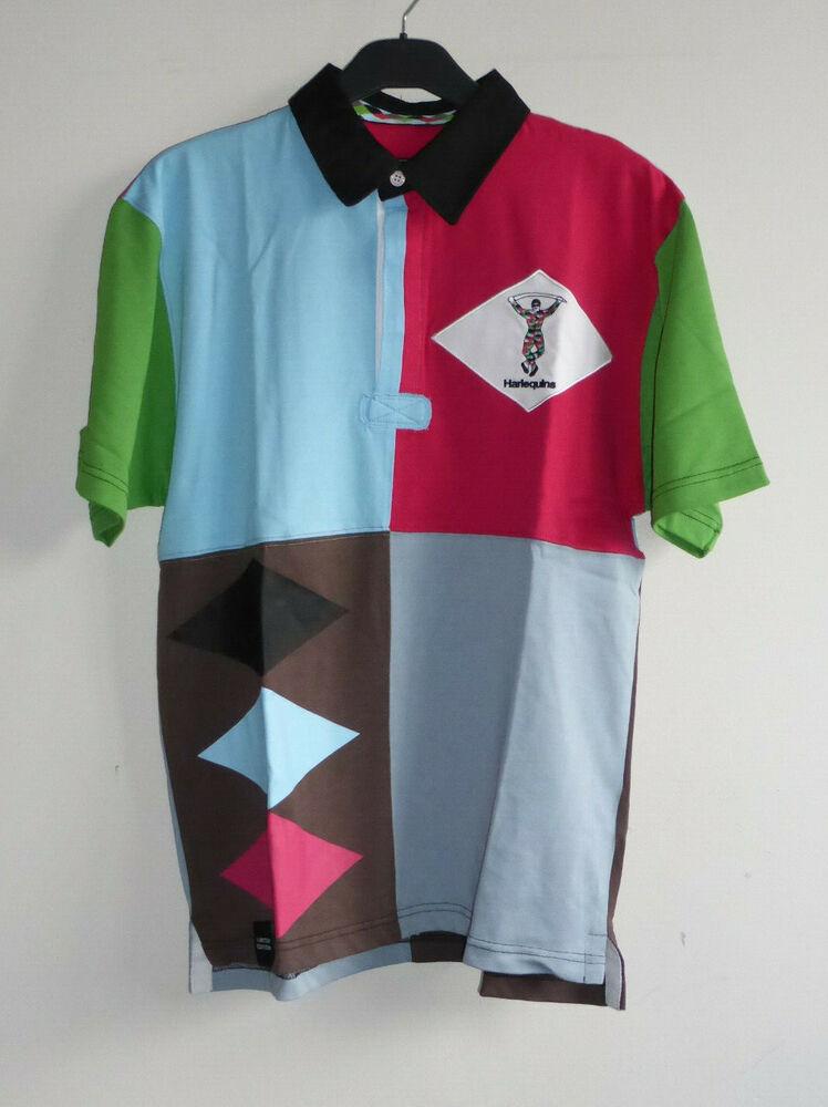 Dynamique Harlequins Pour Homme Taille S à Manches Courtes 150 Ans Commémorative Rugby Shirt Multi