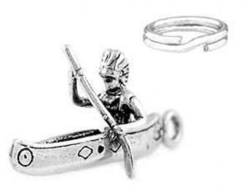 """925 SILVER /""""INDIAN IN A CANOE/"""" CHARM WITH SPLIT RING"""