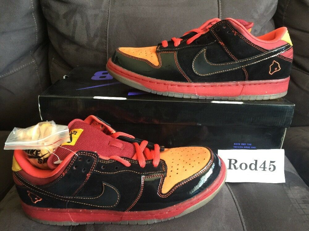 Nike Dunk Low Premium SB Black Deep orange Yellow Red Hawaii 11 DS