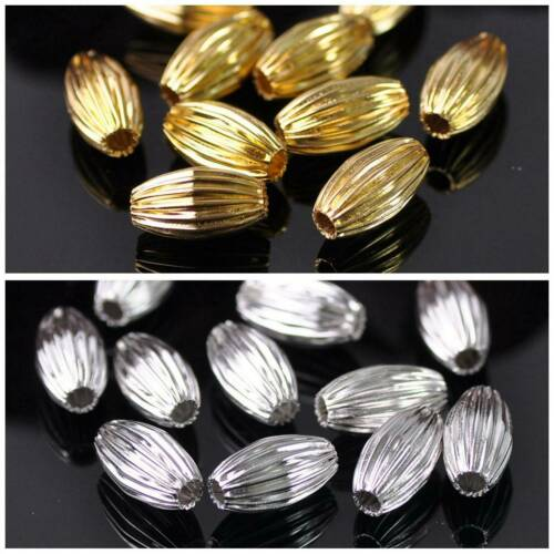 Or//Argent Metal loose Laiton Perles Lot Oval Plicated 5x8mm 6x10mm 7x12mm