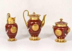 Servicio-de-Cafe-3PC-Porcelana-Paris-Jarra-Azucarero-Bano-Oro-Imperio-Siglo-XIX