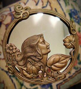 BEAUTIFUL Vintage Art Nouveau Deco Brass Maiden & Flowers Sm Round Wall Mirror