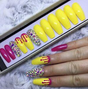 Pink Yellow Summer Melt False Fake Extra Long Coffin Nails Set Ebay