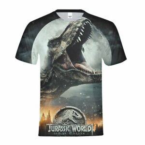 Jurassic-World-Youth-T-shirt-dinosaure-Summer-garcons-a-manches-courtes-Sport-Tee-Custom