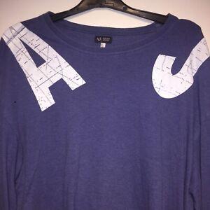 Armani-Jeans-Designer-Haut-T-shirt-a-manches-longues-coupe-ample-taille-L