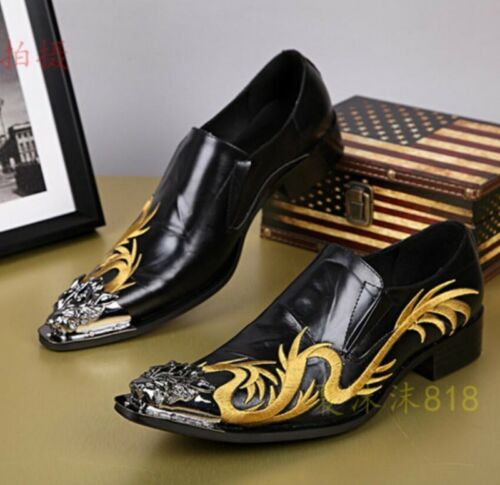 Details about  /Mens Oxford Leather Shoes Embroidery Brogue Slip On Loafers Business Formal US