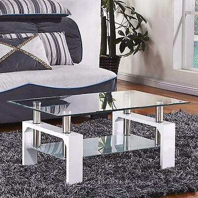 BN Luxurious Glass Coffee Table Rectangular White Legs Chrome Bars