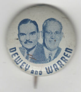 DEWEY and WARREN Campaign Jugate Pin Litho