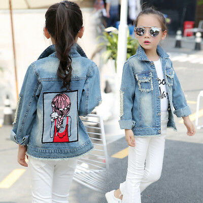 Baby Girls Denim Jacket Children Clothes Kids Fashion Pockets Coat Girl Outfits Ebay