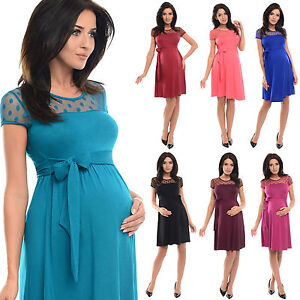 Purpless-Short-Sleeved-Maternity-And-Pregnancy-Dress-With-Polka-Dot-Lace-D004