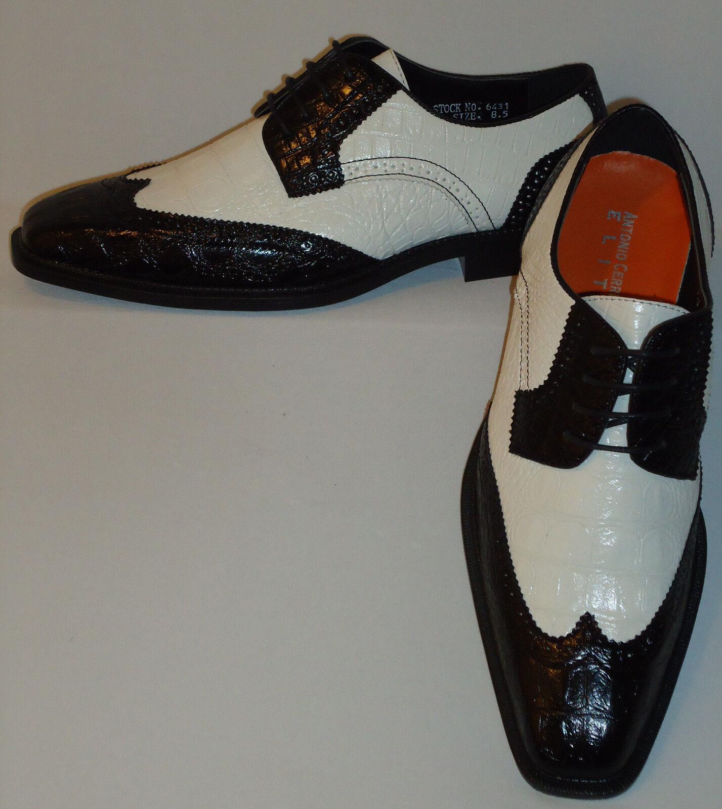 Mens Black + White Classy Old School Wingtip Dress shoes Antonio Cerrelli 6431