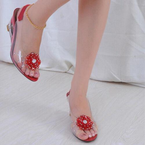 Womens Clear Slingbacks Rhinestone Wedge Heel Shoes Peep Toe Flower Flat Sandals
