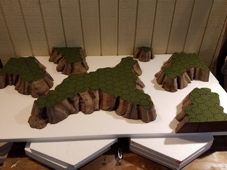 Geo-Hex campo de batalla mountainscape Set rebaño verde