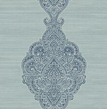 Tapete, Designtapete, Ornamente, Rohseide, Schimmer, Nachtblau, Silber, Aqua