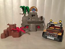 3 Vtg 90s Playmobil Adventure Set Jungle Safari Pieces Jeep Temple Steps 3097