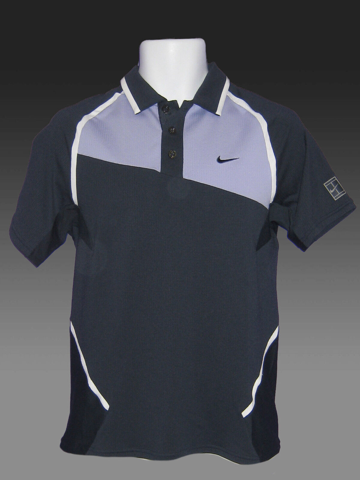 Nuovo Nike Tennis Drifit Maglia Polo Blu Scuro Lavanda M
