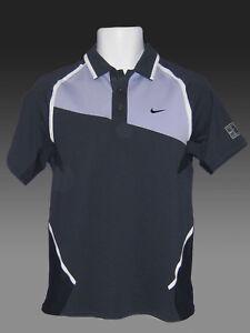 New-NIKE-TENNIS-DriFit-Polo-Shirt-Navy-Blue-Lavender-M